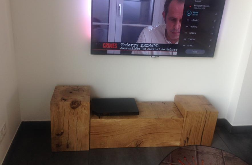 meuble tele cube var et bois. Black Bedroom Furniture Sets. Home Design Ideas